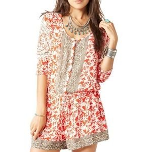 Free People Red Resort Printed Romper Shortall M